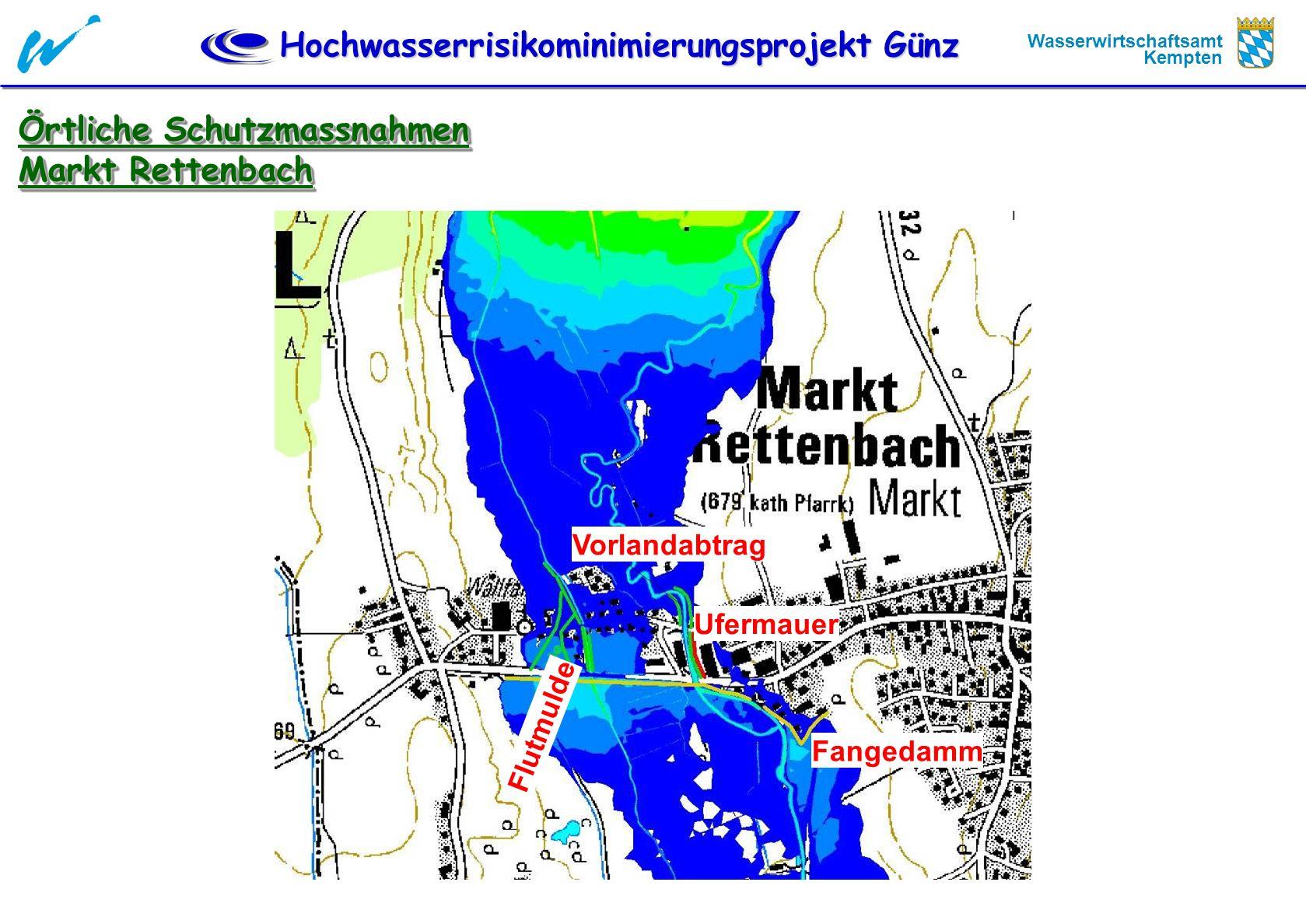 Hochwasserrisikominimierungsprojekt Günz Wasserwirtschaftsamt Kempten Örtliche Schutzmassnahmen Markt Rettenbach Örtliche Schutzmassnahmen Markt Rette