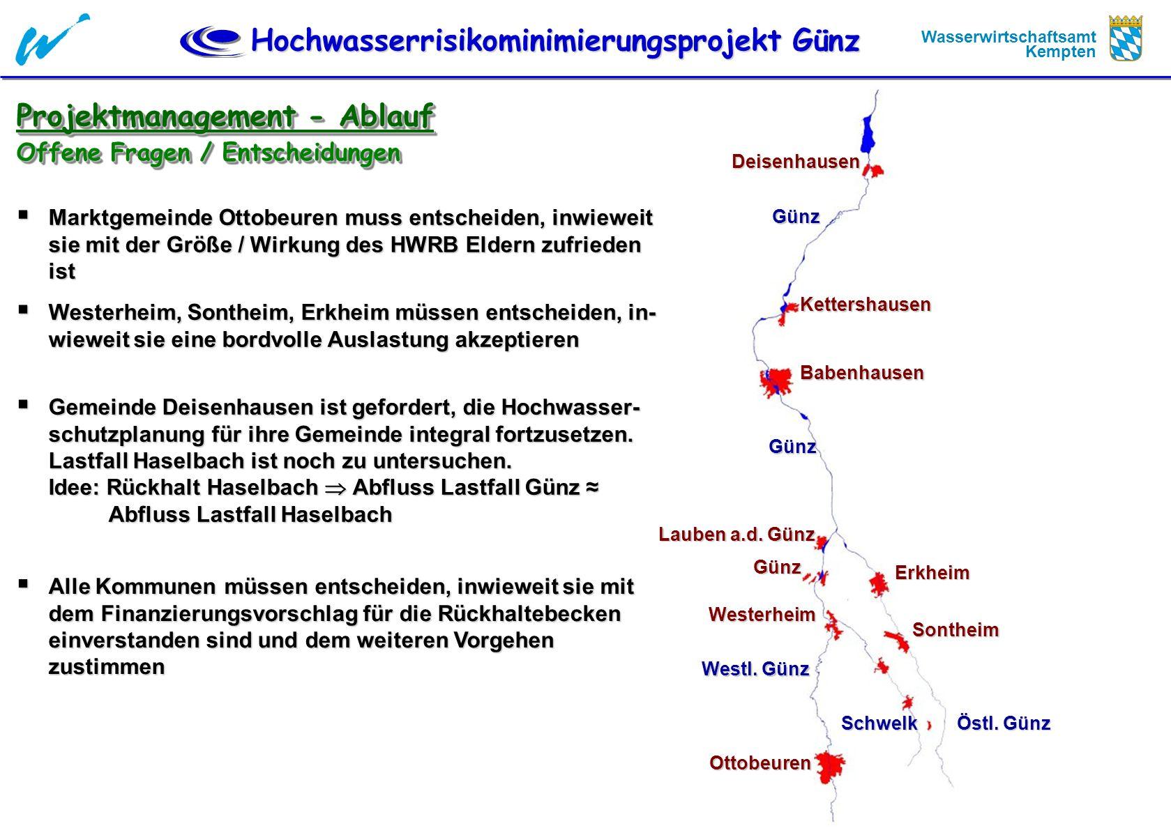 Hochwasserrisikominimierungsprojekt Günz Wasserwirtschaftsamt Kempten Projektmanagement - Ablauf Offene Fragen / Entscheidungen Marktgemeinde Ottobeur