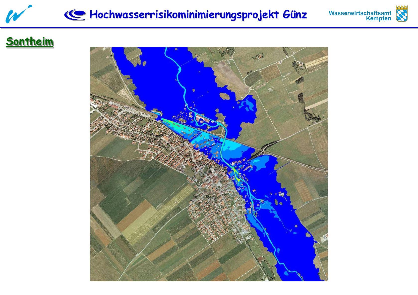 Hochwasserrisikominimierungsprojekt Günz Wasserwirtschaftsamt Kempten Örtliche Schutzmassnahmen Kettershausen Kettershausen Drossel Deich, 50 cm