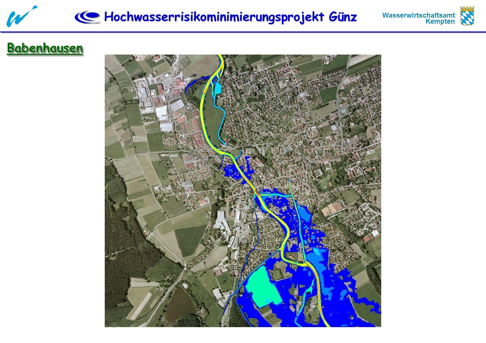 Hochwasserrisikominimierungsprojekt Günz Wasserwirtschaftsamt Kempten Technische Planung Strategische Überlegungen - Zusammenfassung Der Hochwasserschutz kann wegen der örtlichen Gegebenheiten nur durch Rückhalt realisiert werden.