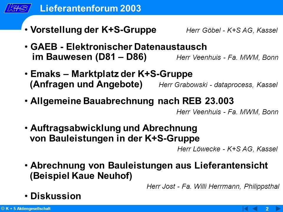 2 Lieferantenforum 2003 1 Vorstellung der K+S-Gruppe Herr Göbel - K+S AG, Kassel GAEB - Elektronischer Datenaustausch im Bauwesen (D81 – D86) Herr Vee