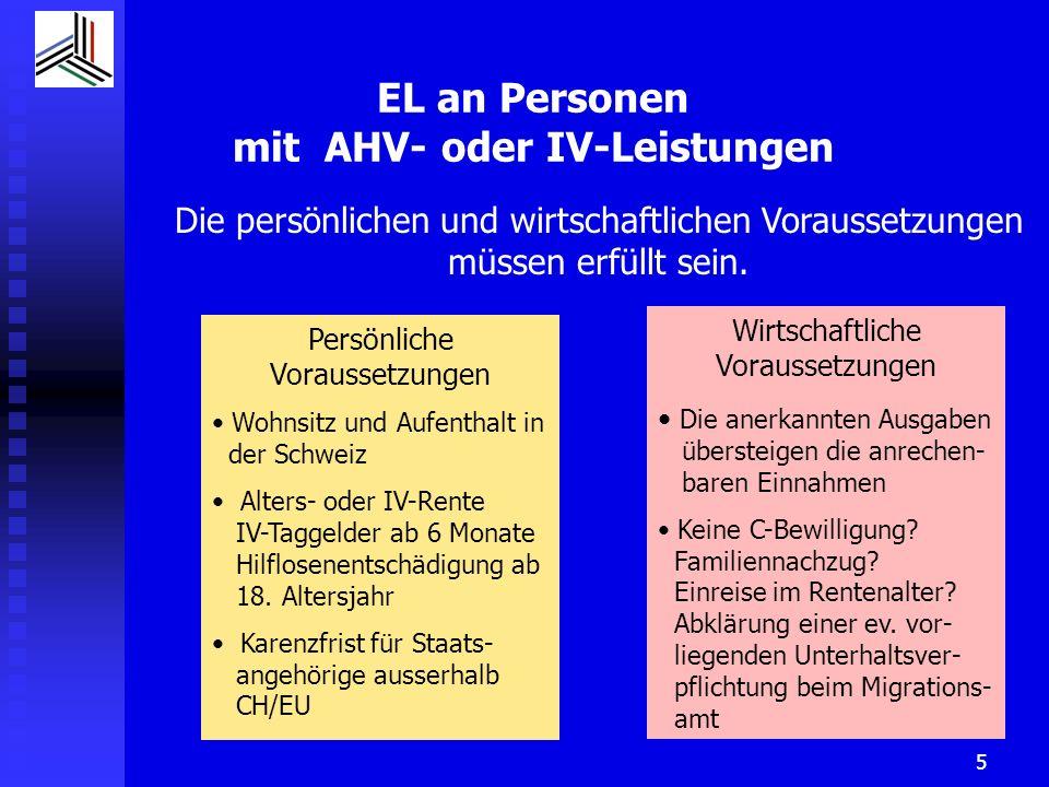 6 EL an Personen ohne AHV- und IV-Renten EL ohne Rente kann nur bei erfüllten persönlichen und wirtschaftlichen Voraussetzungen ausgerichtet werden Persönliche Voraussetzungen Wohnsitz und Aufenthalt in der Schweiz CH / EU / EFTA BürgerIn VertragsausländerInnen: IV + Hinterlassene nach 5 Jahren plafonierte EL AHV nach 10 Jahren EL Drittstaatsangehörige nur als Hinterlassene nach 10 J.
