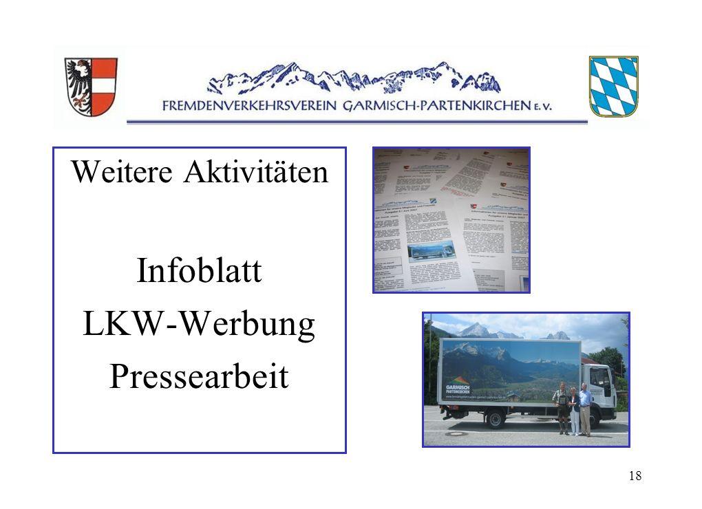 18 Weitere Aktivitäten Infoblatt LKW-Werbung Pressearbeit