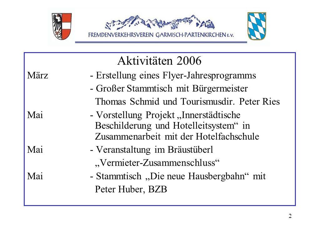2 Aktivitäten 2006 März- Erstellung eines Flyer-Jahresprogramms - Großer Stammtisch mit Bürgermeister Thomas Schmid und Tourismusdir.