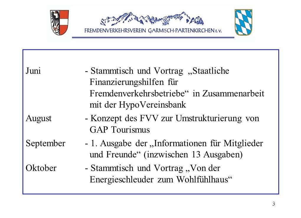 3 Juni- Stammtisch und Vortrag Staatliche Finanzierungshilfen für Fremdenverkehrsbetriebe in Zusammenarbeit mit der HypoVereinsbank August- Konzept des FVV zur Umstrukturierung von GAP Tourismus September- 1.