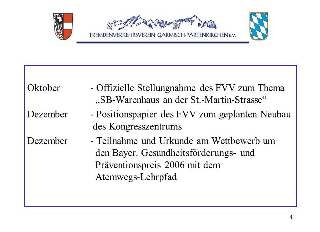 4 Oktober- Offizielle Stellungnahme des FVV zum Thema SB-Warenhaus an der St.-Martin-Strasse Dezember- Positionspapier des FVV zum geplanten Neubau des Kongresszentrums Dezember- Teilnahme und Urkunde am Wettbewerb um den Bayer.
