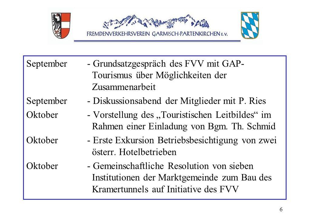 6 September- Grundsatzgespräch des FVV mit GAP- Tourismus über Möglichkeiten der Zusammenarbeit September- Diskussionsabend der Mitglieder mit P.