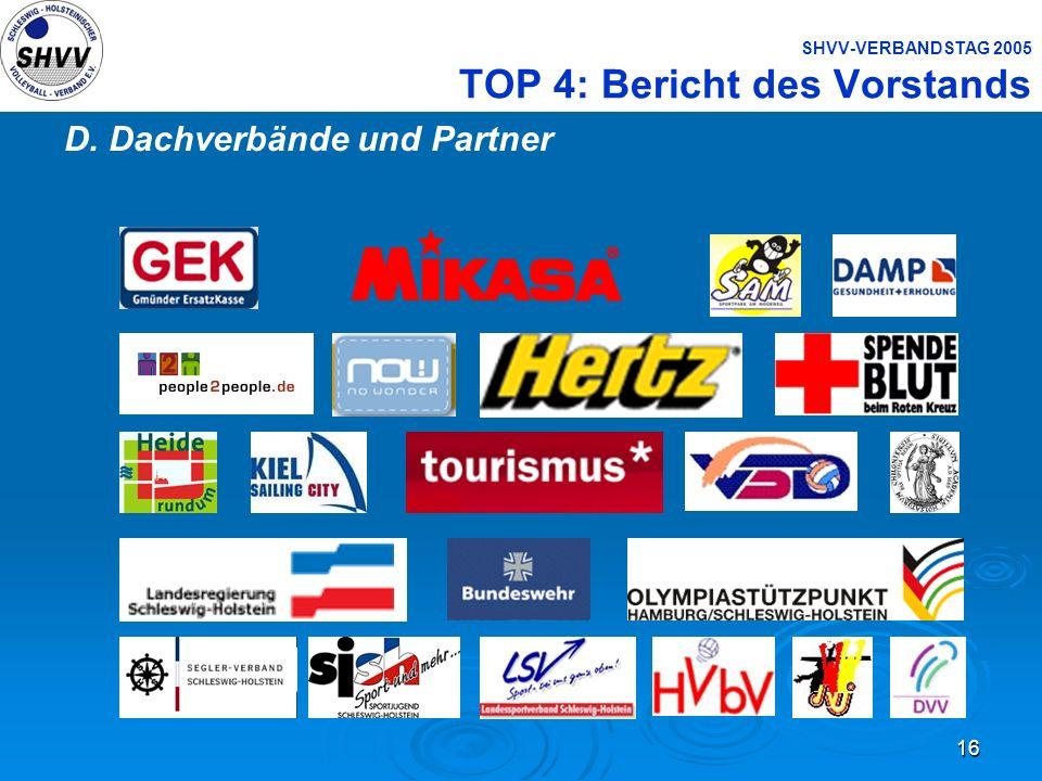 16 SHVV-VERBANDSTAG 2005 TOP 4: Bericht des Vorstands D. Dachverbände und Partner