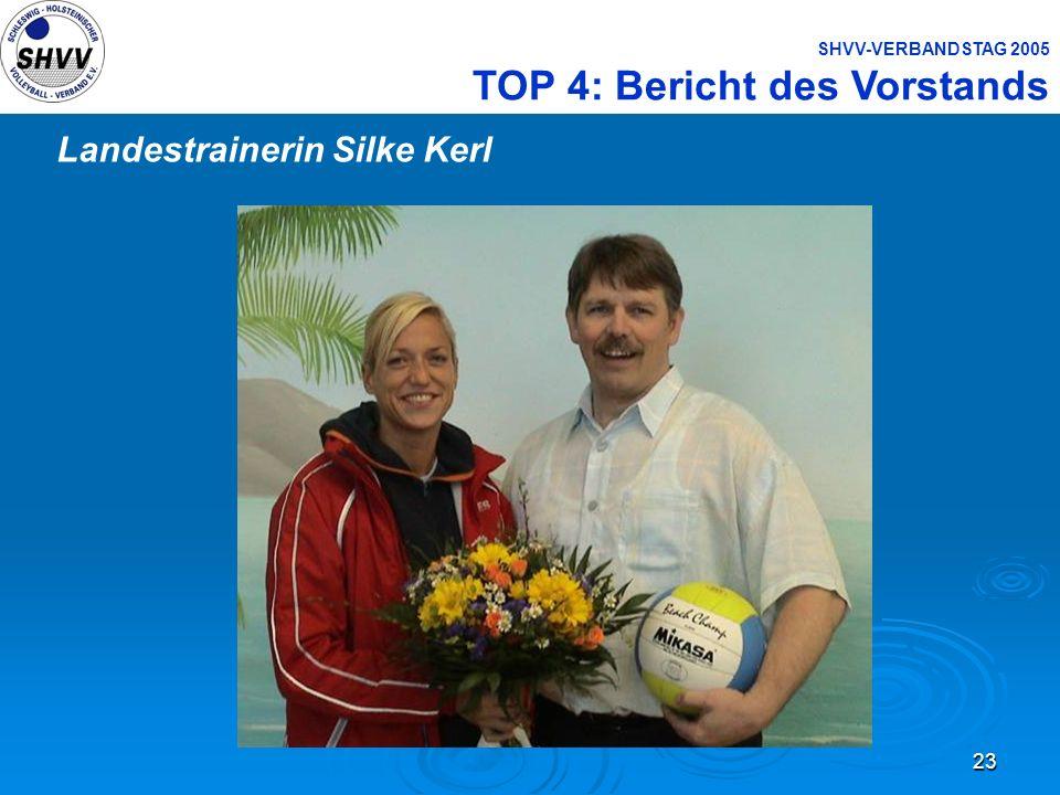 23 SHVV-VERBANDSTAG 2005 TOP 4: Bericht des Vorstands Landestrainerin Silke Kerl