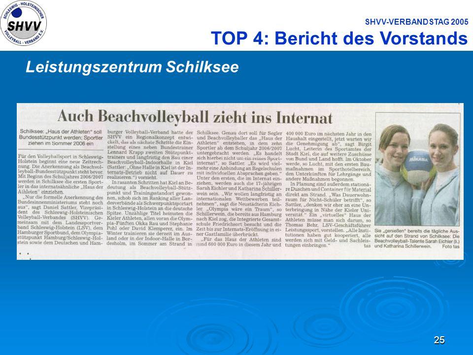 25 SHVV-VERBANDSTAG 2005 TOP 4: Bericht des Vorstands Leistungszentrum Schilksee