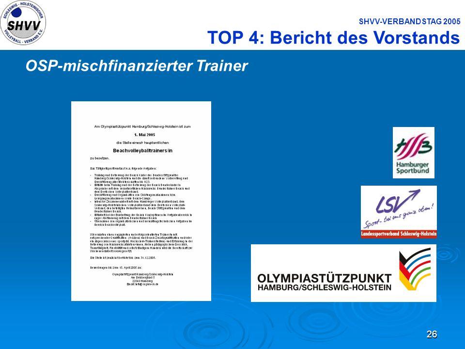 26 SHVV-VERBANDSTAG 2005 TOP 4: Bericht des Vorstands OSP-mischfinanzierter Trainer