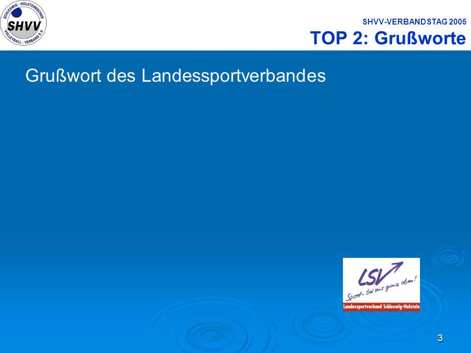3 SHVV-VERBANDSTAG 2005 TOP 2: Grußworte Grußwort des Landessportverbandes