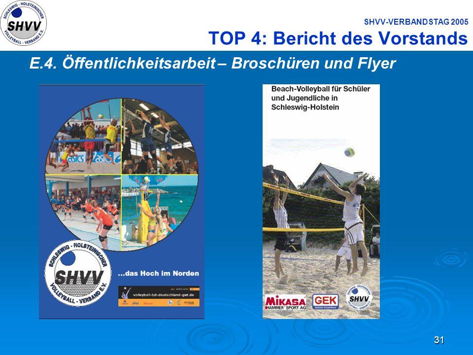 31 SHVV-VERBANDSTAG 2005 TOP 4: Bericht des Vorstands E.4. Öffentlichkeitsarbeit – Broschüren und Flyer