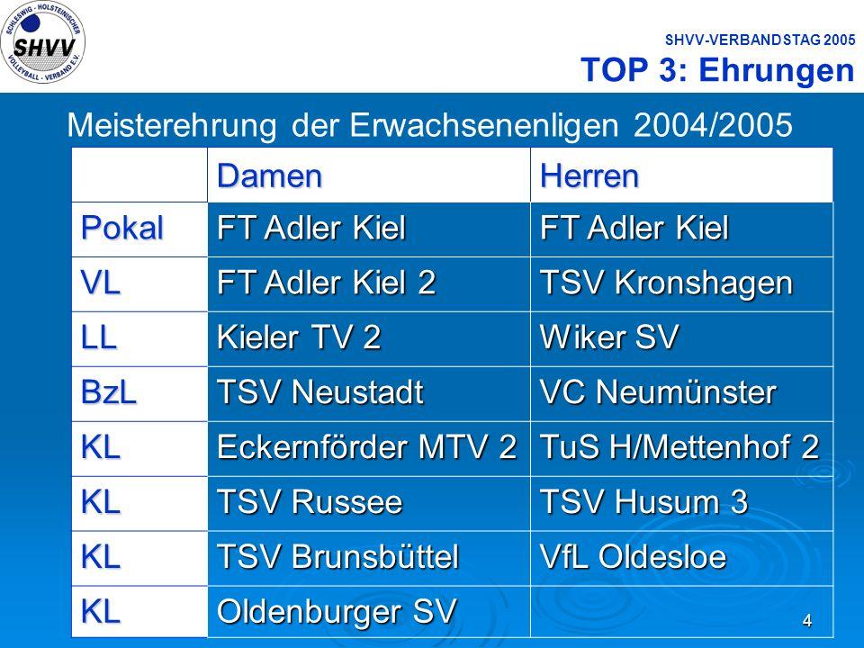 4 SHVV-VERBANDSTAG 2005 TOP 3: Ehrungen Meisterehrung der Erwachsenenligen 2004/2005DamenHerrenPokal FT Adler Kiel VL FT Adler Kiel 2 TSV Kronshagen L