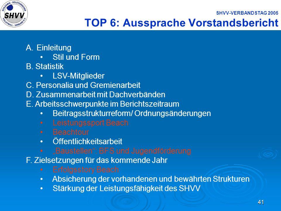 41 SHVV-VERBANDSTAG 2005 TOP 6: Aussprache Vorstandsbericht A.Einleitung Stil und Form B. Statistik LSV-Mitglieder C. Personalia und Gremienarbeit D.