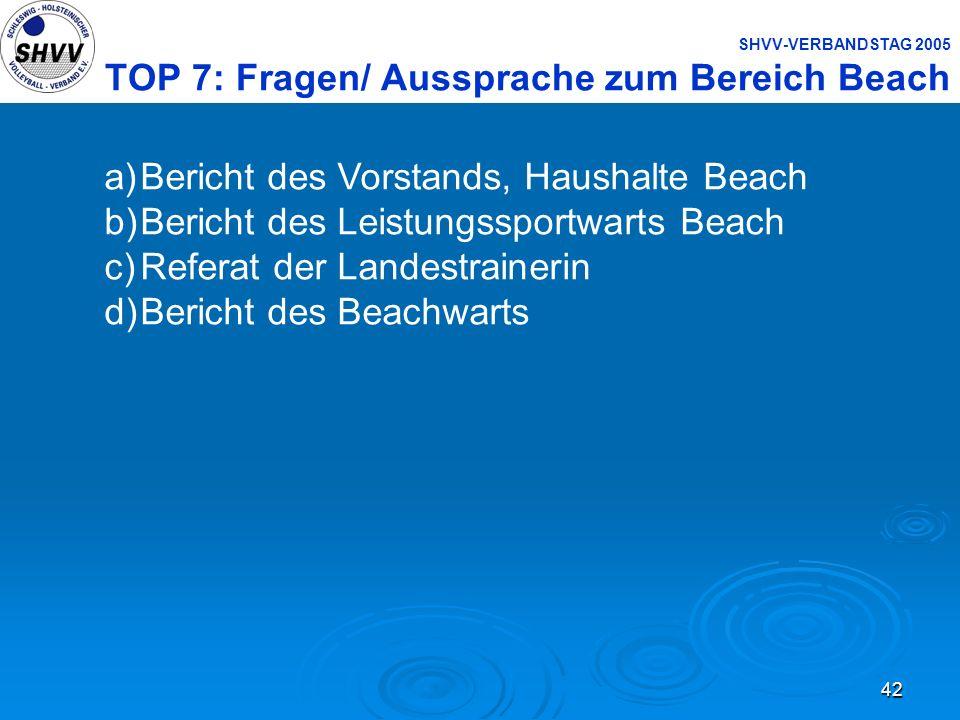 42 SHVV-VERBANDSTAG 2005 TOP 7: Fragen/ Aussprache zum Bereich Beach a)Bericht des Vorstands, Haushalte Beach b)Bericht des Leistungssportwarts Beach