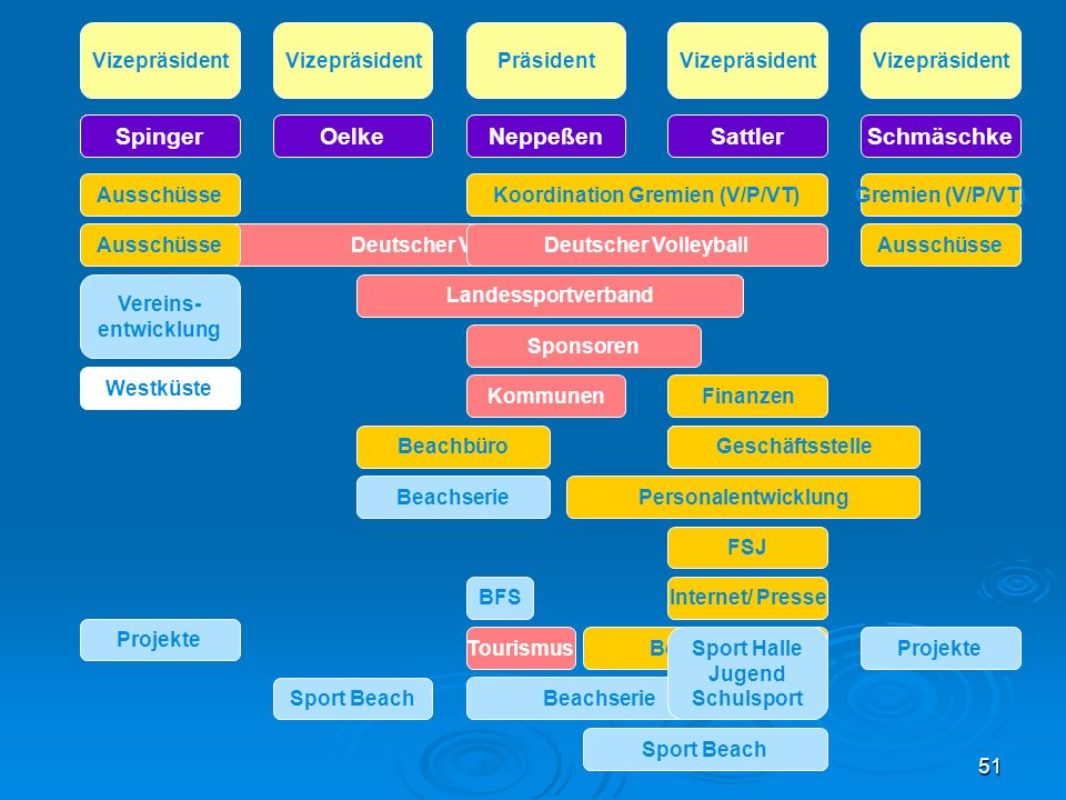 51 Vizepräsident PräsidentVizepräsident JanetzkySattlerNeppeßen Deutscher Volleyball Sponsoren Finanzen Landessportverband Geschäftsstelle FSJ Beachbü