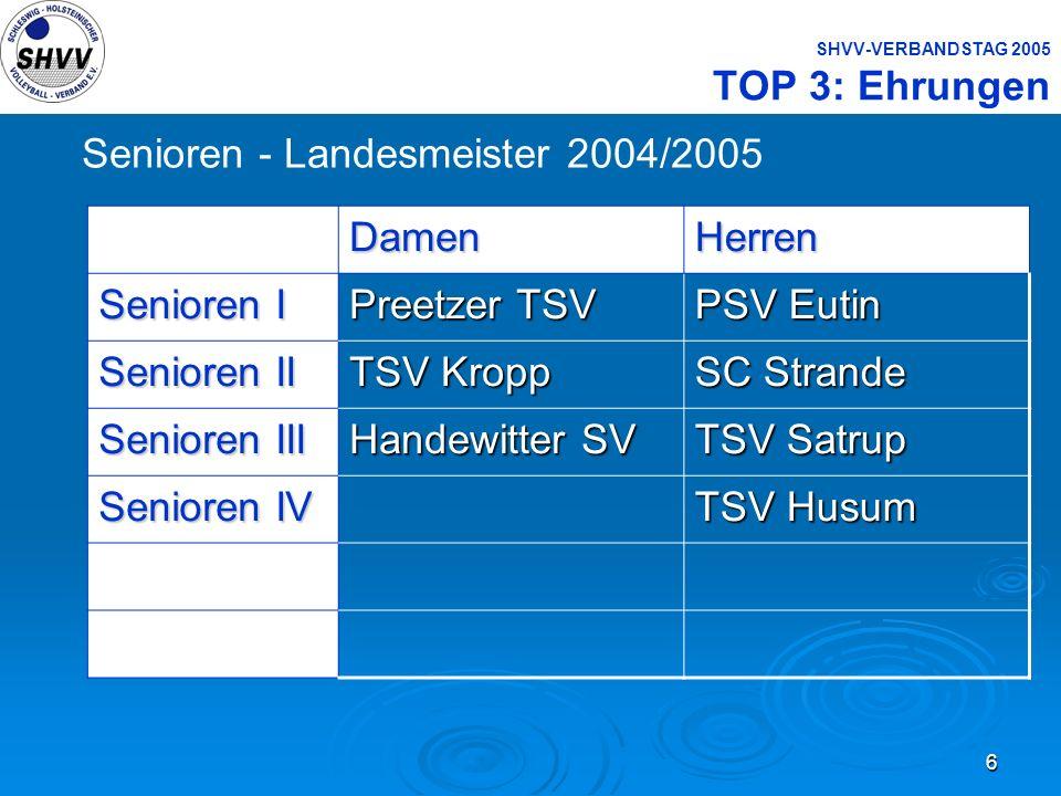 6 SHVV-VERBANDSTAG 2005 TOP 3: Ehrungen Senioren - Landesmeister 2004/2005DamenHerren Senioren I Preetzer TSV PSV Eutin Senioren II TSV Kropp SC Stran