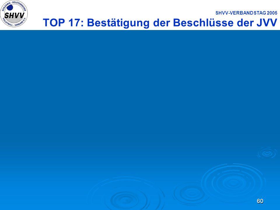 60 SHVV-VERBANDSTAG 2005 TOP 17: Bestätigung der Beschlüsse der JVV