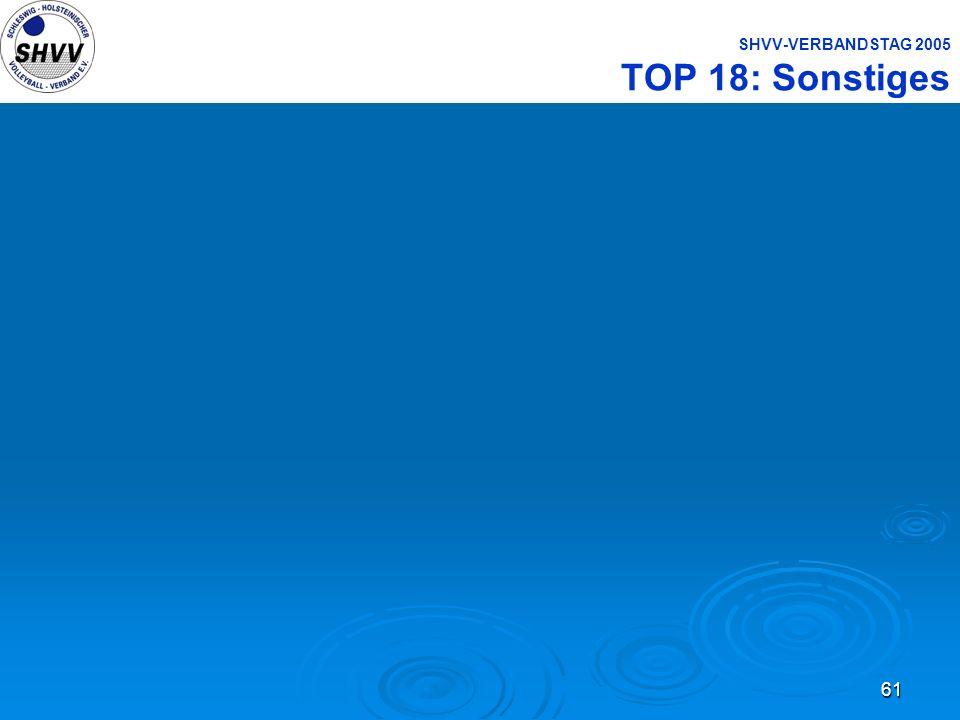 61 SHVV-VERBANDSTAG 2005 TOP 18: Sonstiges