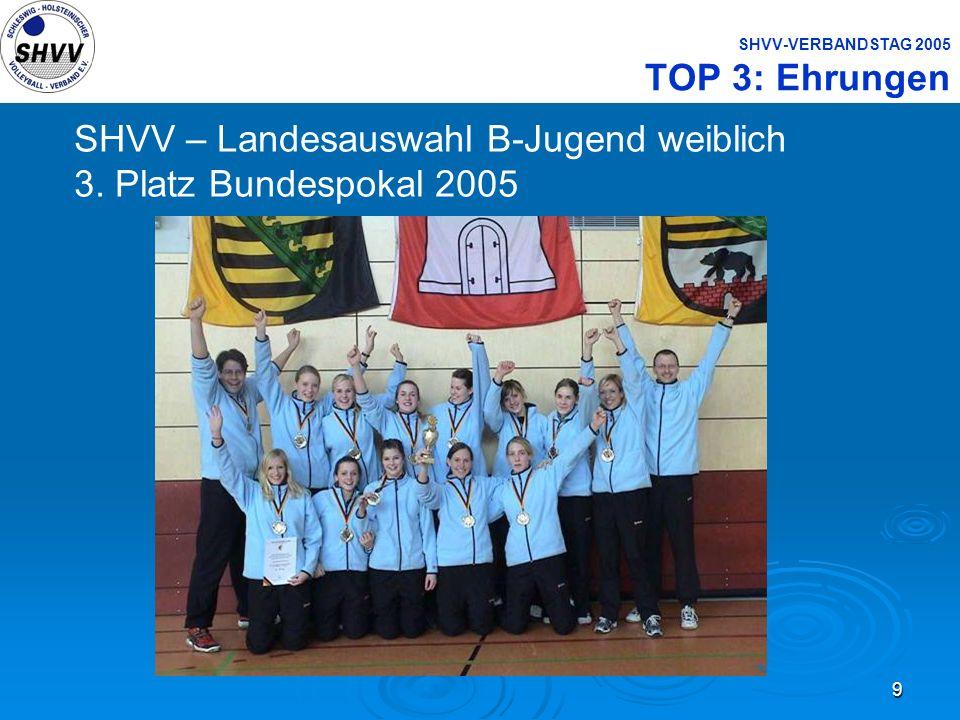 9 SHVV-VERBANDSTAG 2005 TOP 3: Ehrungen SHVV – Landesauswahl B-Jugend weiblich 3. Platz Bundespokal 2005