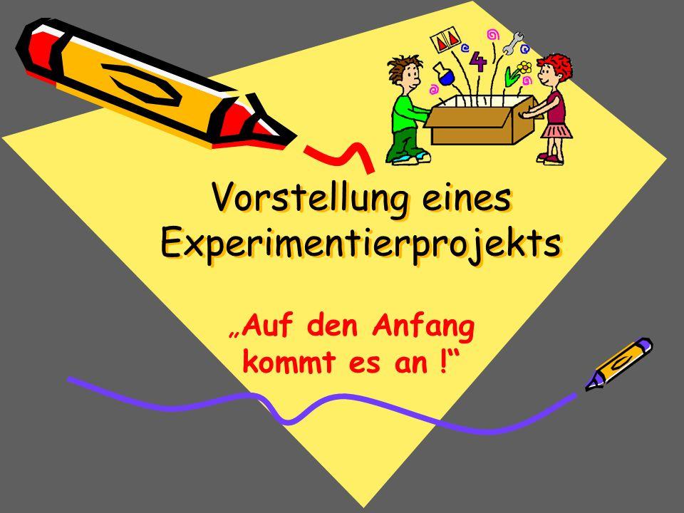 Vorstellung eines Experimentierprojekts Auf den Anfang kommt es an !