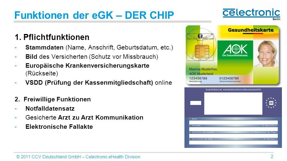 © 2011 CCV Deutschland GmbH – Celectronic eHealth Division 2 Funktionen der eGK – DER CHIP 1. Pflichtfunktionen -Stammdaten (Name, Anschrift, Geburtsd