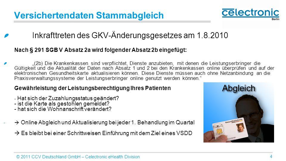 © 2011 CCV Deutschland GmbH – Celectronic eHealth Division 4 Versichertendaten Stammabgleich Inkrafttreten des GKV-Änderungsgesetzes am 1.8.2010 Nach