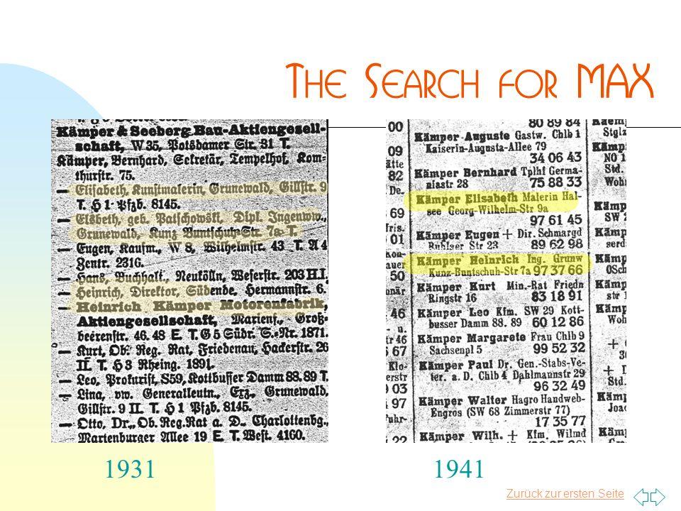 Zurück zur ersten Seite 19311941