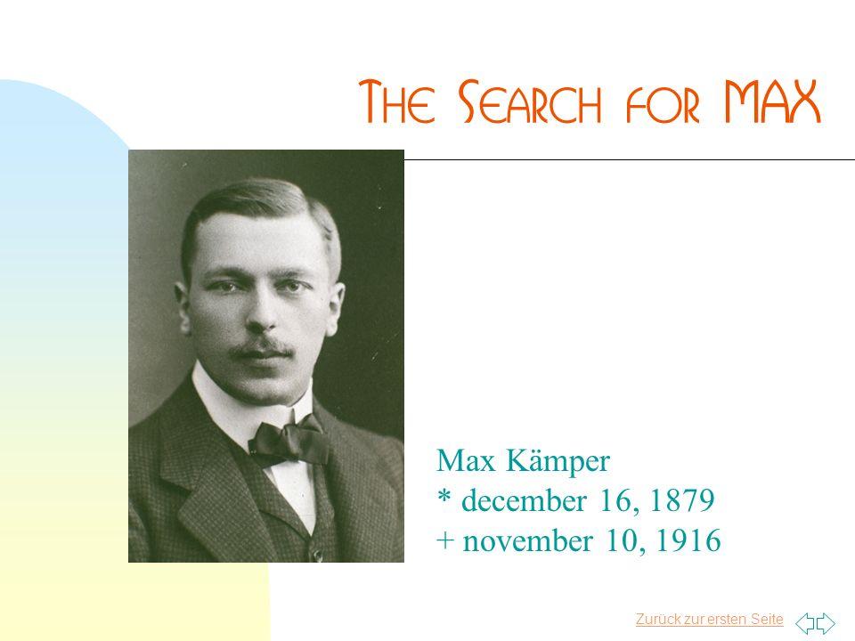 Zurück zur ersten Seite Max Kämper * december 16, 1879 + november 10, 1916
