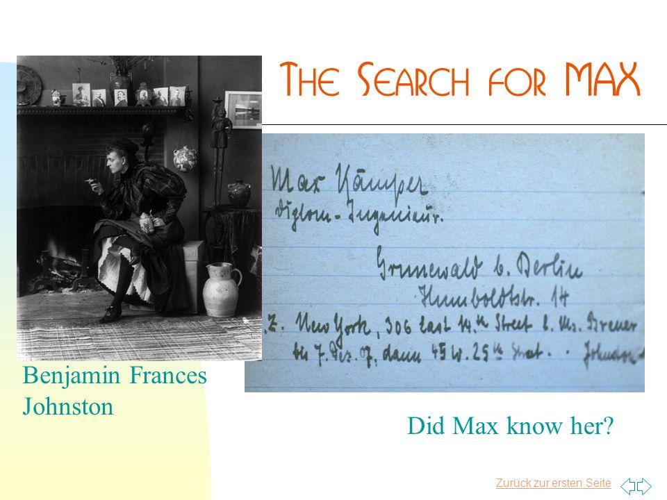 Zurück zur ersten Seite Benjamin Frances Johnston Did Max know her?