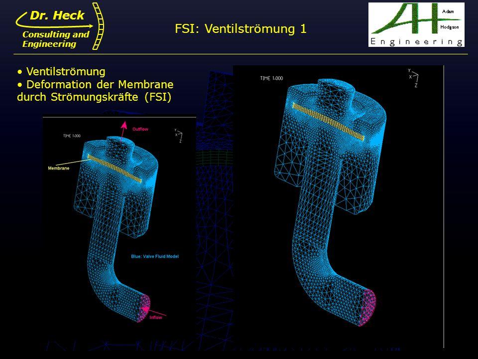 Dr. Ulrich Heck11 Dr. Heck Consulting and Engineering Ventilströmung Deformation der Membrane durch Strömungskräfte (FSI) FSI: Ventilströmung 1