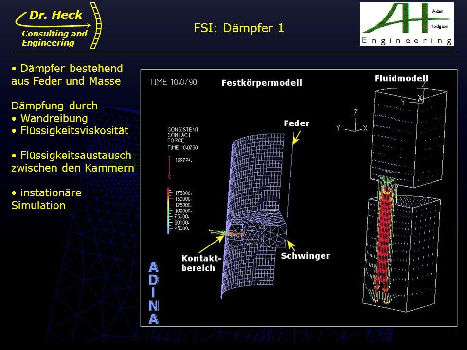 Dr. Ulrich Heck13 Dr. Heck Consulting and Engineering FSI: Dämpfer 1 Dämpfer bestehend aus Feder und Masse Dämpfung durch Wandreibung Flüssigkeitsvisk