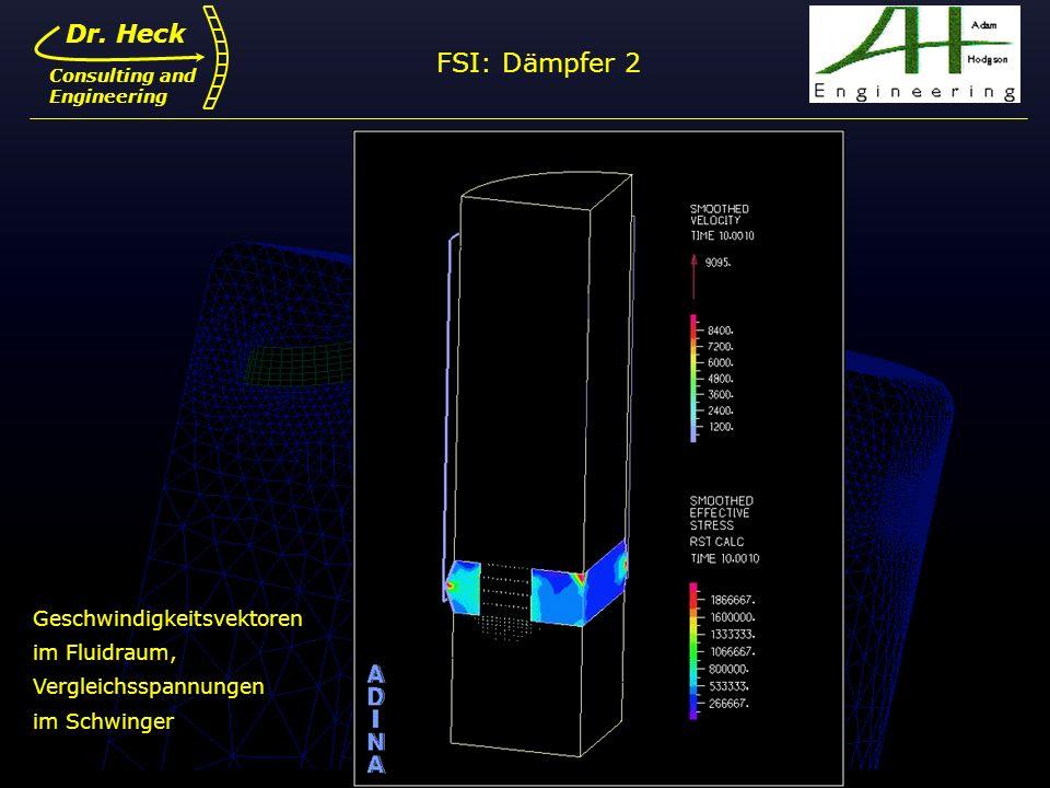 Dr. Ulrich Heck14 Dr. Heck Consulting and Engineering FSI: Dämpfer 2 Geschwindigkeitsvektoren im Fluidraum, Vergleichsspannungen im Schwinger