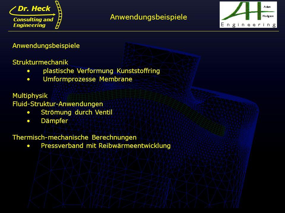 Dr. Ulrich Heck6 Dr. Heck Consulting and Engineering Anwendungsbeispiele Strukturmechanik plastische Verformung Kunststoffring Umformprozesse Membrane