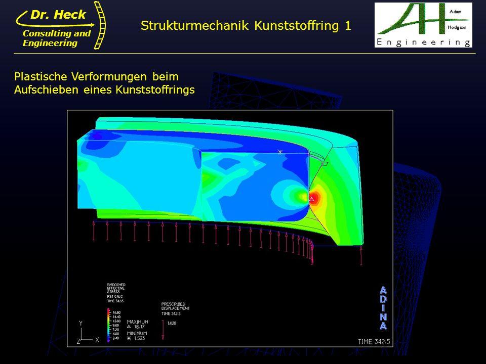 Dr. Ulrich Heck7 Dr. Heck Consulting and Engineering Plastische Verformungen beim Aufschieben eines Kunststoffrings Strukturmechanik Kunststoffring 1