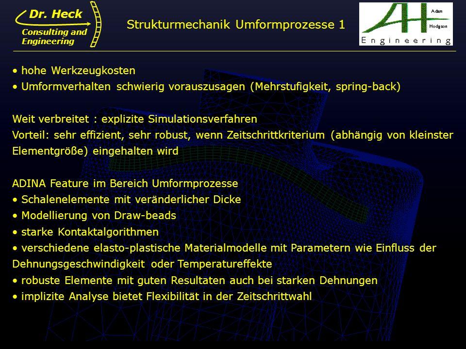 Dr. Ulrich Heck9 Dr. Heck Consulting and Engineering Strukturmechanik Umformprozesse 1 hohe Werkzeugkosten Umformverhalten schwierig vorauszusagen (Me