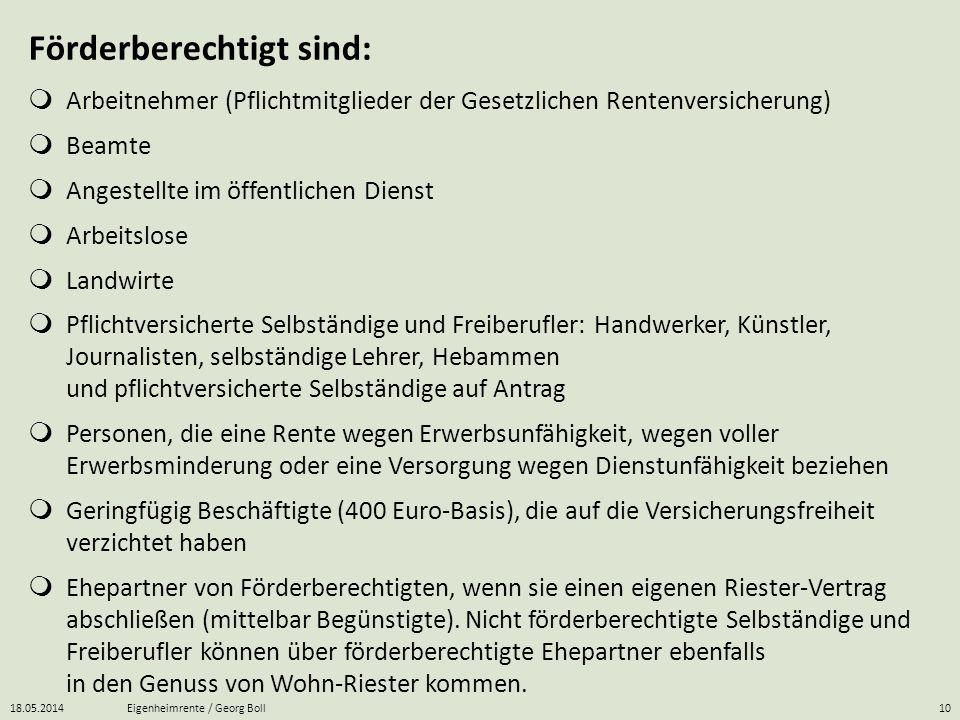 18.05.2014Eigenheimrente / Georg Boll10 Förderberechtigt sind: Arbeitnehmer (Pflichtmitglieder der Gesetzlichen Rentenversicherung) Beamte Angestellte