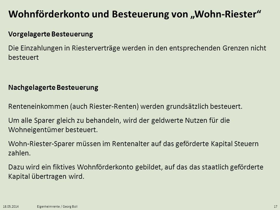 18.05.2014Eigenheimrente / Georg Boll17 Wohnförderkonto und Besteuerung von Wohn-Riester Renteneinkommen (auch Riester-Renten) werden grundsätzlich be