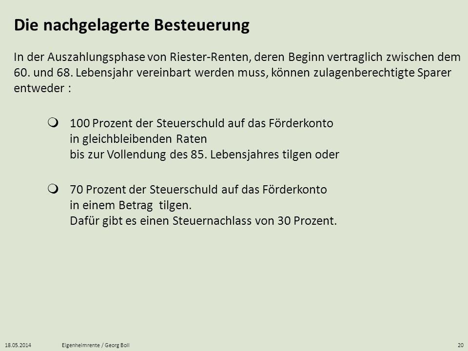 18.05.2014Eigenheimrente / Georg Boll20 In der Auszahlungsphase von Riester-Renten, deren Beginn vertraglich zwischen dem 60. und 68. Lebensjahr verei