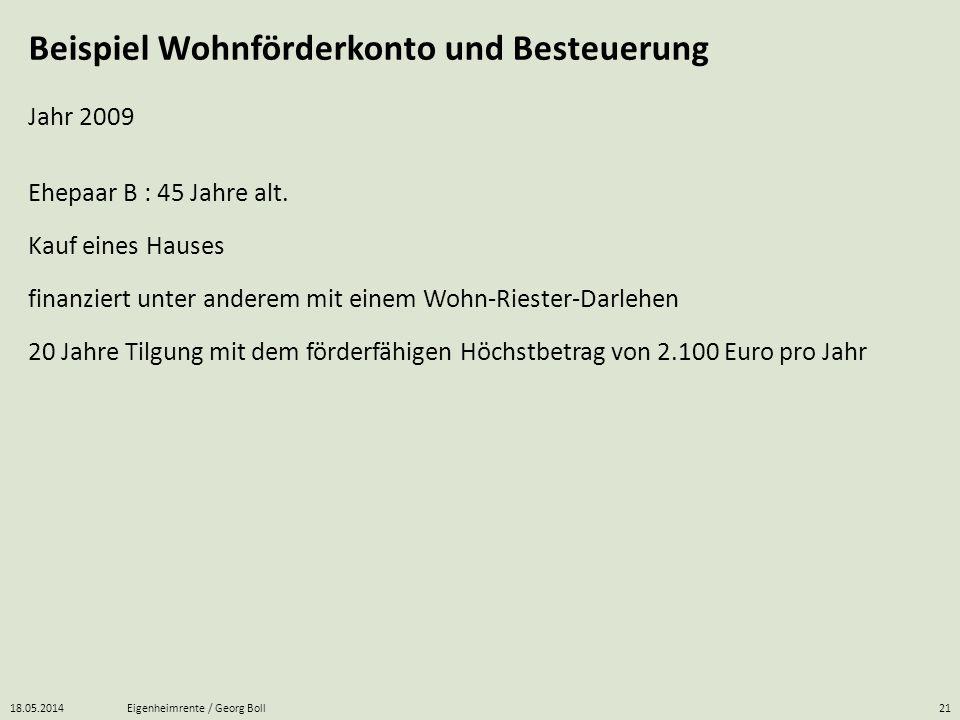 18.05.2014Eigenheimrente / Georg Boll21 Beispiel Wohnförderkonto und Besteuerung Kauf eines Hauses Ehepaar B : 45 Jahre alt. Jahr 2009 finanziert unte