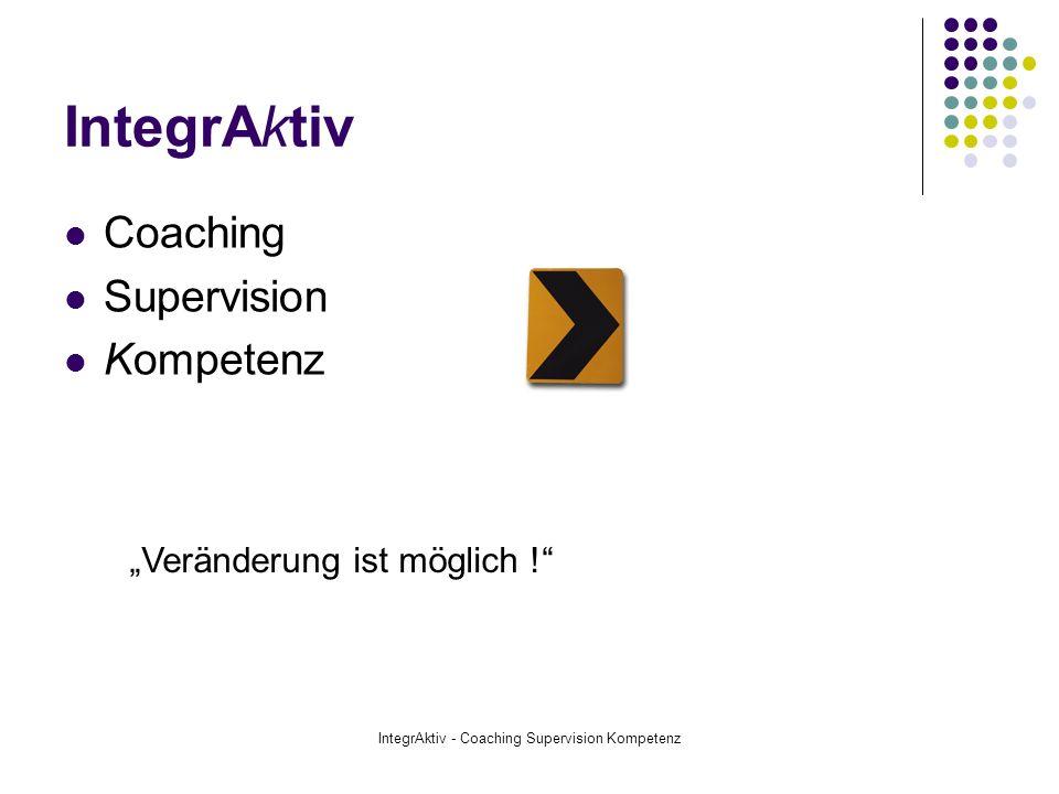 IntegrAktiv - Coaching Supervision Kompetenz Arbeitsweise Im Coaching geht es darum, ein neues Erkenntnis- Einstellungs- und Handlungsmodell für die jeweilige coachingrelevante Situation des Coachee zu modellieren.