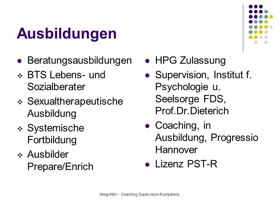 IntegrAktiv - Coaching Supervision Kompetenz Anbindungen Mitgliedschaften: Deutscher Dachverband für Psychotherapie Akademie für Psychotherapie und Seelsorge European Association for Supervision, cand.