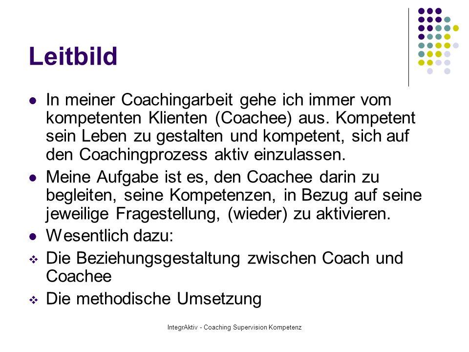 IntegrAktiv - Coaching Supervision Kompetenz Arbeitsweise Ich arbeite im Sinne eines integrativen Ansatzes, bei dem verschiedene Methodenschritte aus dem weiten Feld von Pädagogik, Psychologie und Beratungsarbeit Einsatz finden.