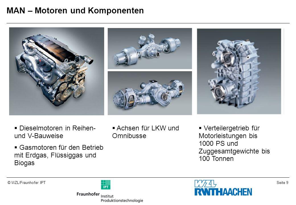 Seite 9© WZL/Fraunhofer IPT MAN – Motoren und Komponenten Dieselmotoren in Reihen- und V-Bauweise Gasmotoren für den Betrieb mit Erdgas, Flüssiggas und Biogas Achsen für LKW und Omnibusse Verteilergetrieb für Motorleistungen bis 1000 PS und Zuggesamtgewichte bis 100 Tonnen