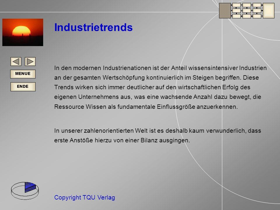 ENDE MENUE Copyright TQU Verlag Industrietrends In den modernen Industrienationen ist der Anteil wissensintensiver Industrien an der gesamten Wertschöpfung kontinuierlich im Steigen begriffen.