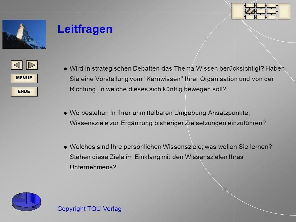 ENDE MENUE Copyright TQU Verlag Leitfragen Wird in strategischen Debatten das Thema Wissen berücksichtigt.