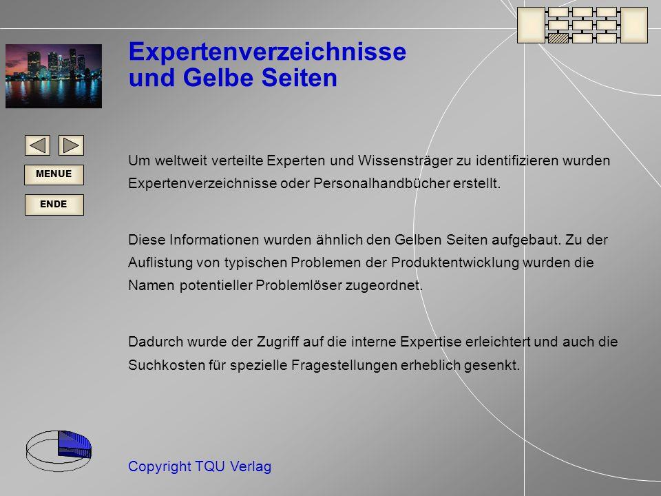 ENDE MENUE Copyright TQU Verlag Expertenverzeichnisse und Gelbe Seiten Um weltweit verteilte Experten und Wissensträger zu identifizieren wurden Expertenverzeichnisse oder Personalhandbücher erstellt.