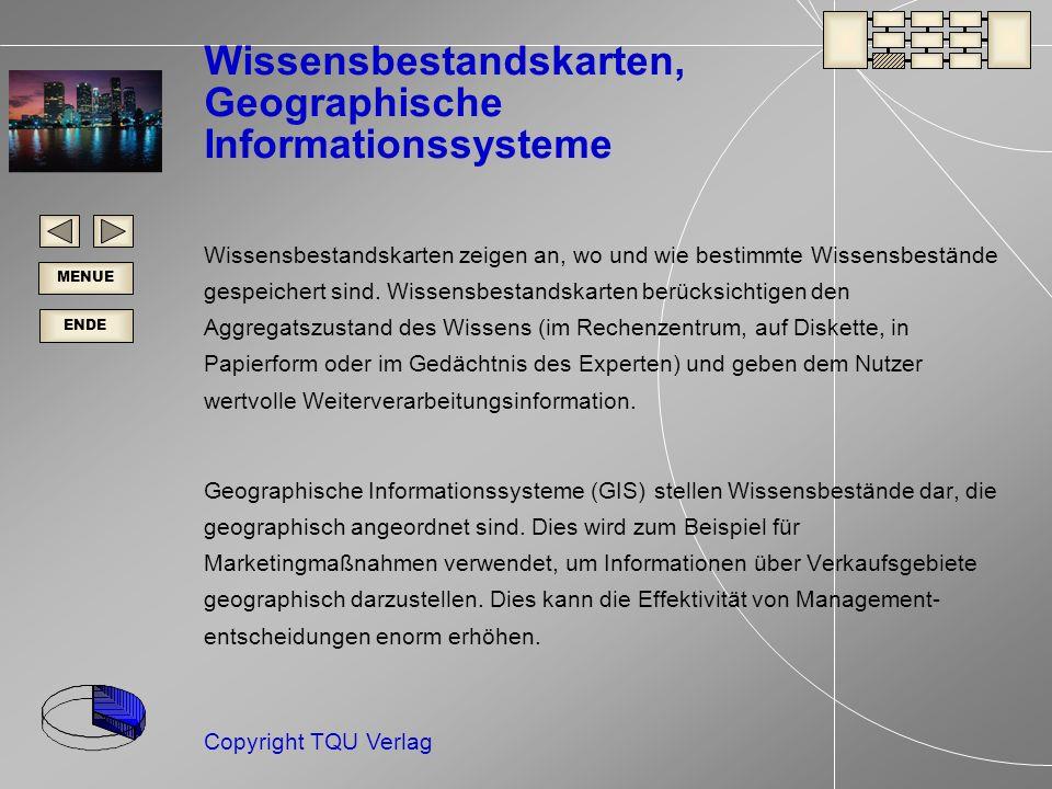 ENDE MENUE Copyright TQU Verlag Wissensbestandskarten, Geographische Informationssysteme Wissensbestandskarten zeigen an, wo und wie bestimmte Wissensbestände gespeichert sind.