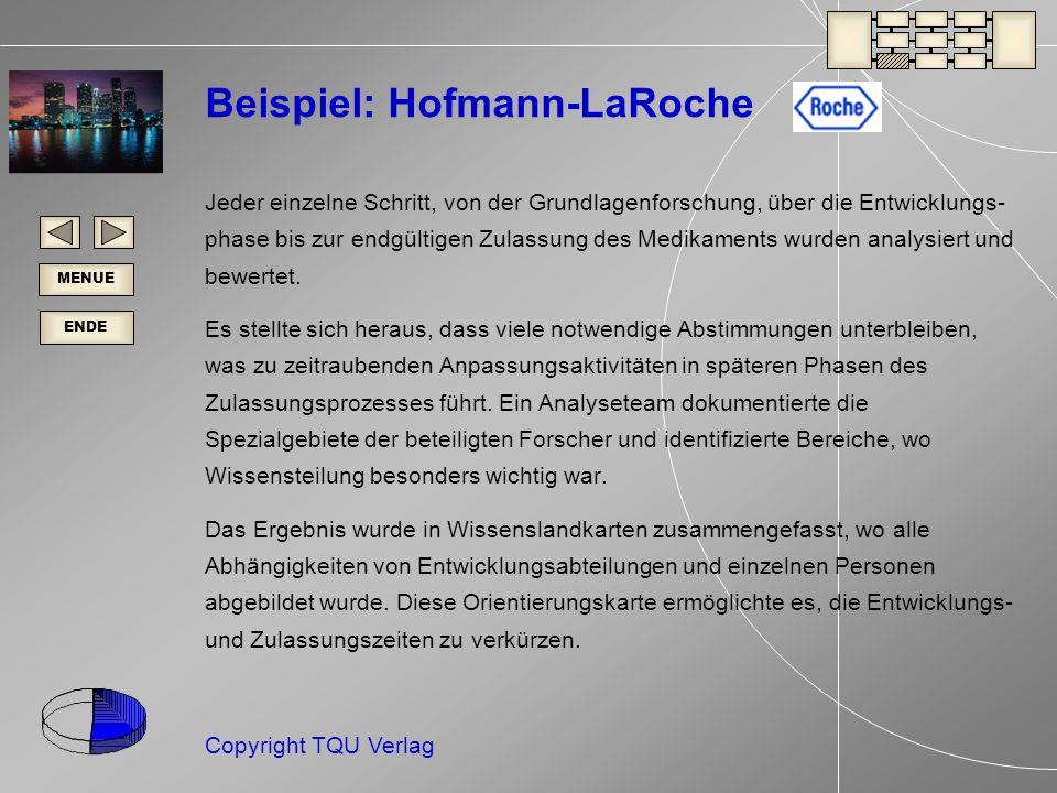 ENDE MENUE Copyright TQU Verlag Beispiel: Hofmann-LaRoche Jeder einzelne Schritt, von der Grundlagenforschung, über die Entwicklungs- phase bis zur endgültigen Zulassung des Medikaments wurden analysiert und bewertet.